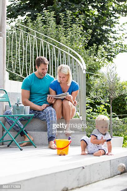 Family with son in garden