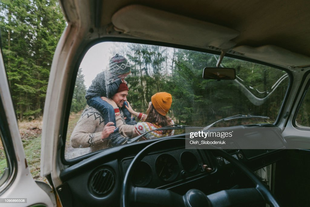 Family with son  near the van in forest : Stock Photo