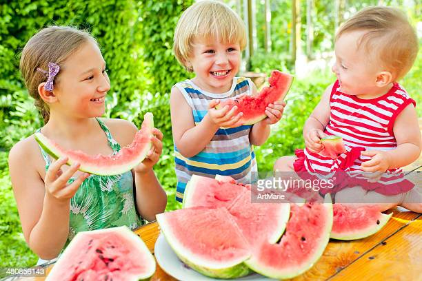 Family with watermelon