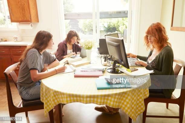 family working station - ホームスクーリング ストックフォトと画像