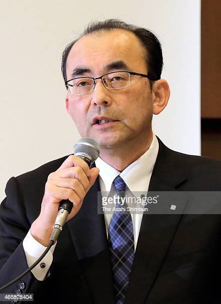 FamilyMart president Isamu Nakayama speaks during a press conference announcing their merger talks on March 10 2015 in Tokyo Japan Japan's third...