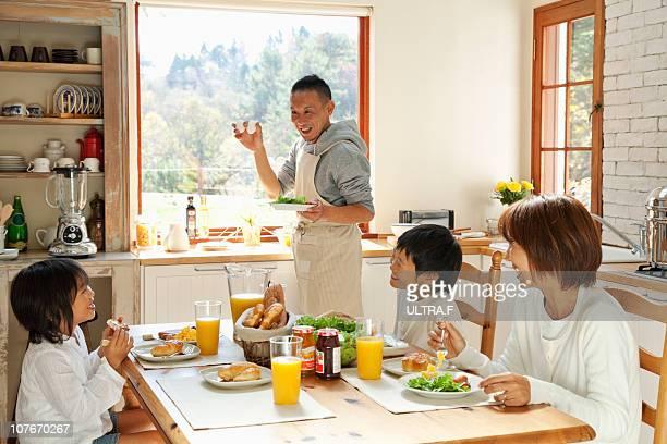 Family's breakfast scenery