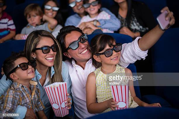 family's selfie at the cinema - 3d mom son stock photos and pictures