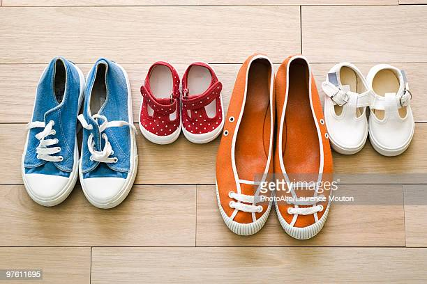Family's shoes lined up together