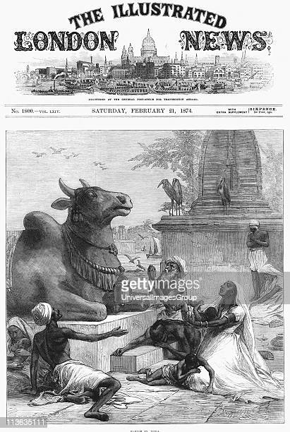 Famine in Bengal India Praying to Nandi for relief Nandi devotee of Shiva took the form of a bull Stone statue of a bull outside temple dedicated to...