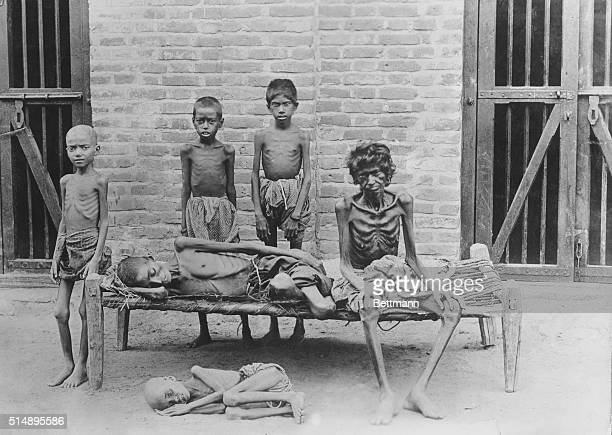 Famine in India A starving family