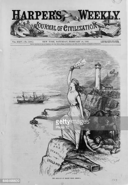 Famine in Ireland Front page of the 'Harper's Weekly' newspaper showing Ireland standing on the cliffs signalling for help from America while a...