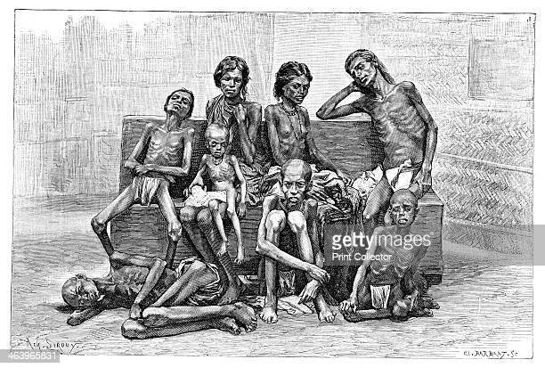 Famine victims India 1895 From The Universal Geography with Illustrations and Maps division XVI written by Elisee Reclus and published by Virtue Co...