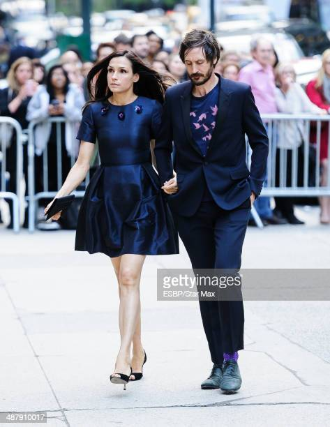Famke Janssen and Cole Frates seen at the memorial service for L'Wren Scott on May 2 2014 in New York City