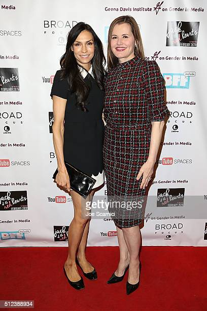 Famke Janssen and Geena Davis arrive at Jack Of The Red Hearts Symposium at YouTube Space LA Presented by Bentonville Film Festival The Wrap The...