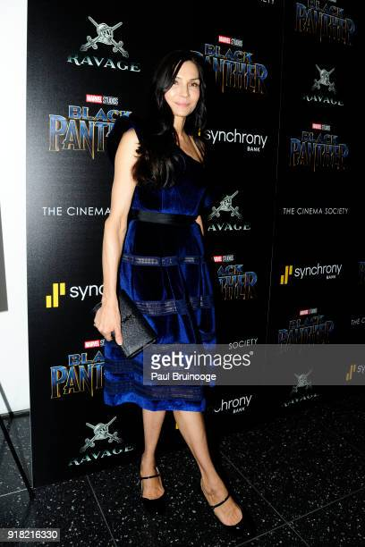 Famke Janssen attends The Cinema Society with Ravage Wines Synchrony host a screening of Marvel Studios' 'Black Panther' at The Museum of Modern Art...
