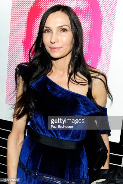 Famke Janssen attends The Cinema Society with Ravage Wines Synchrony host the after party for Marvel Studios' 'Black Panther' at The Skylark on...