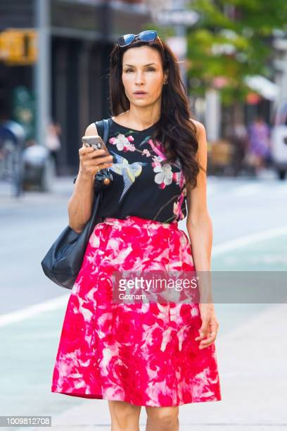Famke Janssen is seen in the East Village on August 2 2018 in New York City