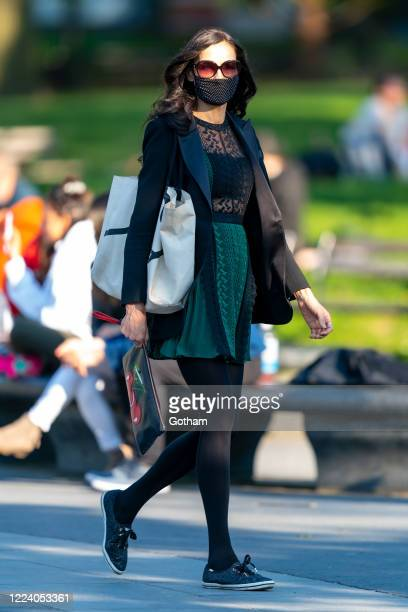 Famke Janssen is seen in Washington Square Park on May 10 2020 in New York City