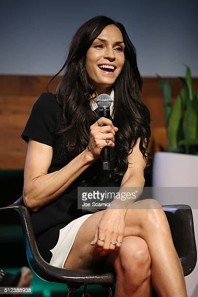 Famke Janssen speaks on stage at the Jack Of The Red Hearts Symposium at YouTube Space LA Presented by Bentonville Film Festival The Wrap The Geena...