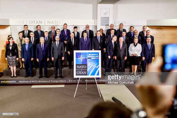Famliy photo at NATO foreign ministers meeting on December 05 2017 in Brussels Belgium