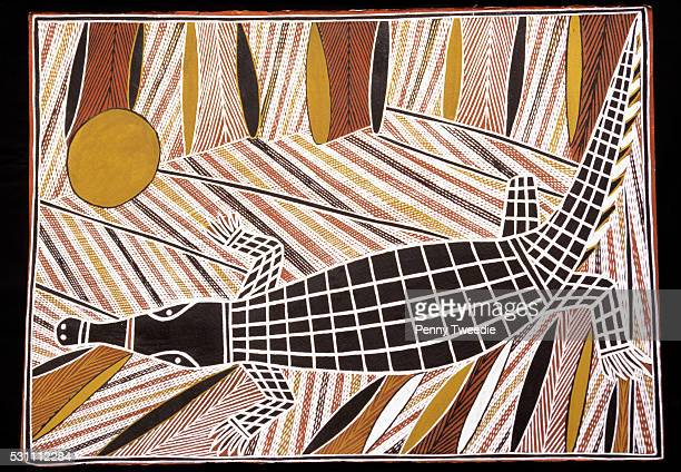 Famous Aboriginal artist George Milpurrurru's painting of the three legged crocodile a legend for the Ganalbingu clan central Arnhem Land