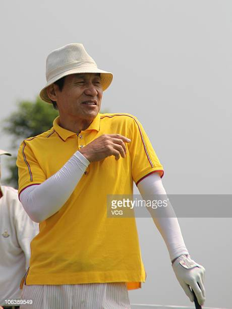 Famous actor Chen Daoming of China in action during day 3 of the Mission Hills Star Trophy at Blackstone Course of the Mission Hill Hainan on October...