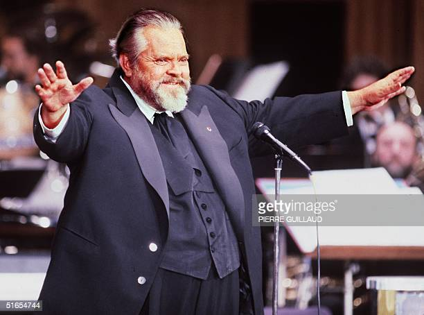 Famous American film actor and director Orson Welles President of French film industry's Caesar award ceremony welcomes the audience and opens the...