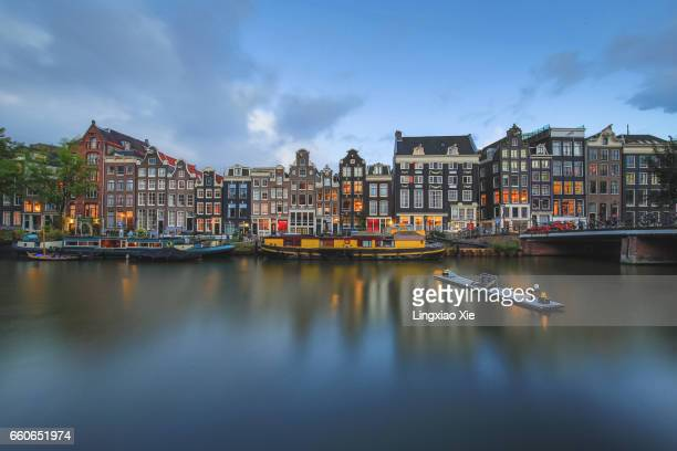 Famous Amsterdam canal at dusk, Netherlands