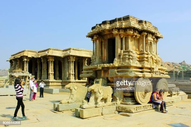 Famous ancient stone chariot in Vittala Temple in Hampi, Karnataka, India