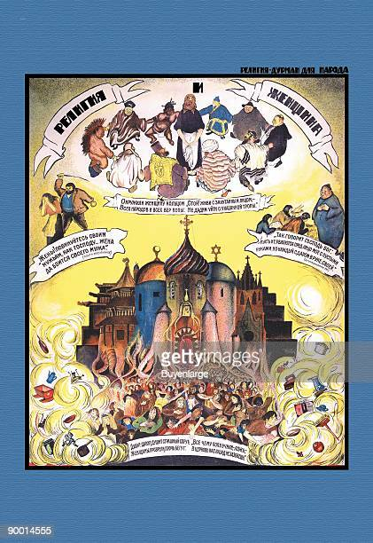 Famous antireliogious poster showing Russis varied Jews Christians and Muslims practicing the folly of their religions