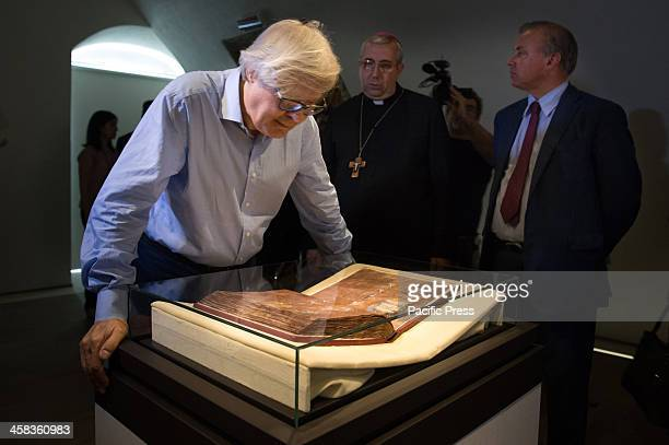Famous Art Critic Vittorio Sgarbi Bishop of Rossano Giuseppe Satriano the Mayor Stefano Mascaro look at the Codex Codex Purpureus returned after...