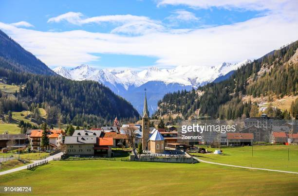 famous bergün/bravuogn village along the panoramic golden pass line train in west of switzerland - lausanne stock pictures, royalty-free photos & images