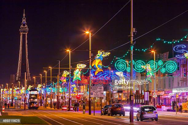 Famous Blackpool Street Lights at night