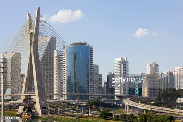 Famous cable stayed bridge at Sao Paulo city.