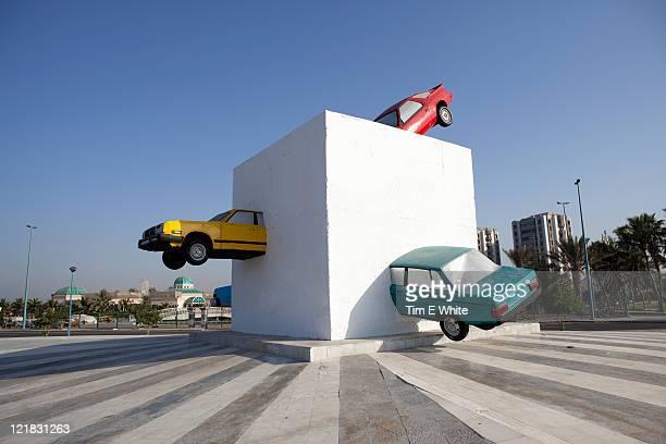 Famous car sculpture, Open Air Art Museum along the corniche, Jeddah, Saudi Arabia, Middle East