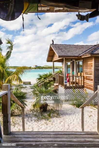 famous chat'n'chill conch bar in stocking island  (exuma - bahamas) - pjphoto69 stock pictures, royalty-free photos & images