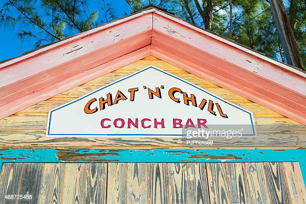 famous chat'n'chill conch bar in stocking island  (exuma - bahamas) - conch shell stock pictures, royalty-free photos & images