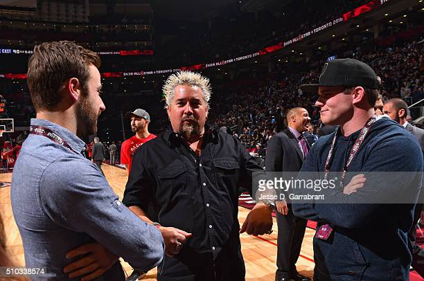 Famous Chef Guy Fieri has a conversation with Indy drivers James Hinchcliffe and Conor Daly during the NBA AllStar Game as part of the 2016 NBA All...