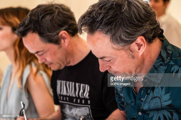 Famous chefs and twin brothers Torres brothers are seen signing books Catalunya celebrates the 'Day of Sant Jordi' the day of books and roses...