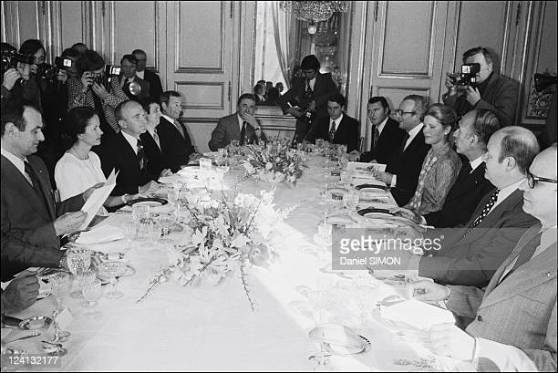 Famous chefs received at the Elysee Palace In Paris France On February 25 1975 From left to right of AnneAymone Giscard d'Estaing Alain Chapel Roger...