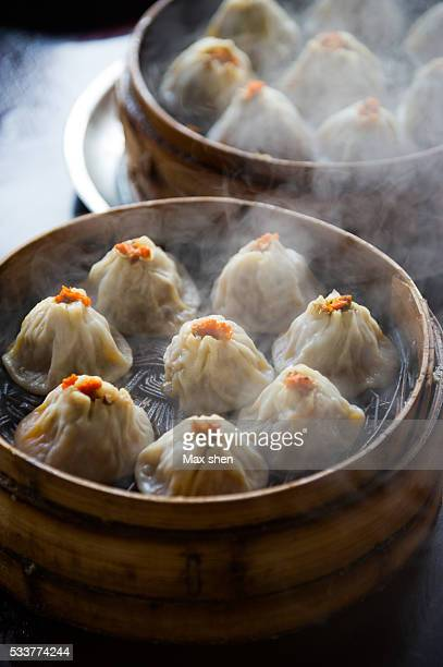 Famous chinese little steamed stuffed buns from Wuxi city