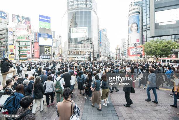 Famous crowdy Shibuya crossing in Tokyo, Japan, during the day in may 2017