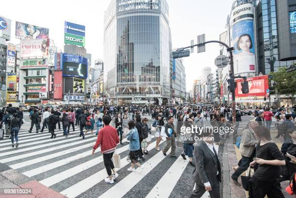 famous crowdy shibuya crossing in tokyo, japan, during the day in may 2017 - shibuya ward stock pictures, royalty-free photos & images