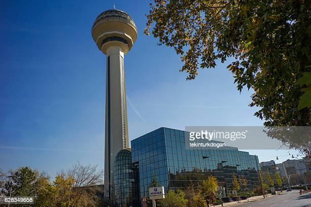 famous demolished tower atakule shopping center in ankara turkey - cankaya district ankara stock pictures, royalty-free photos & images