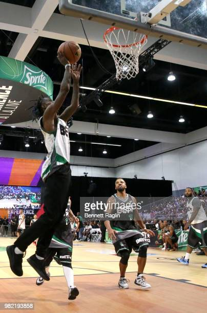 Famous Dex and Christian Keyes play basketball at the Celebrity Basketball Game Sponsored By Sprite during the 2018 BET Experience at Los Angeles...