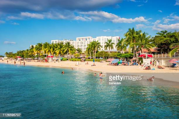 famous doctor's cave beach in montego bay jamaica - montego bay stock pictures, royalty-free photos & images
