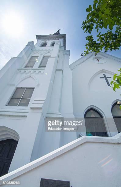 Famous Emanuel AME Church in Charleston South Carolina black church scene of horrible murder of 9 people on June 17 2015