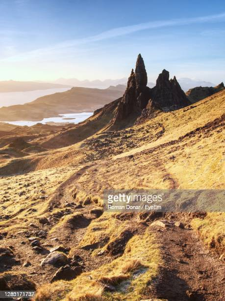 famous exposed rocks old man of storr, north hill in isle of skye island of highlands in scotland - hill stock pictures, royalty-free photos & images