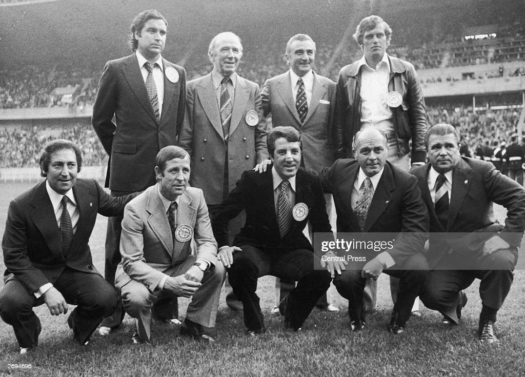 Famous figures from football history gathered on the pitch before the European Cup final between Leeds United and Bayern Munich, (back row from left) Marquitez, Matt Busby, Miguel Munoz and Keizer, (front row from left) Francisco Gento, Raymond Kopa, Jose Augusto, Alfredo Di Stefano and Ferenc Puskas.