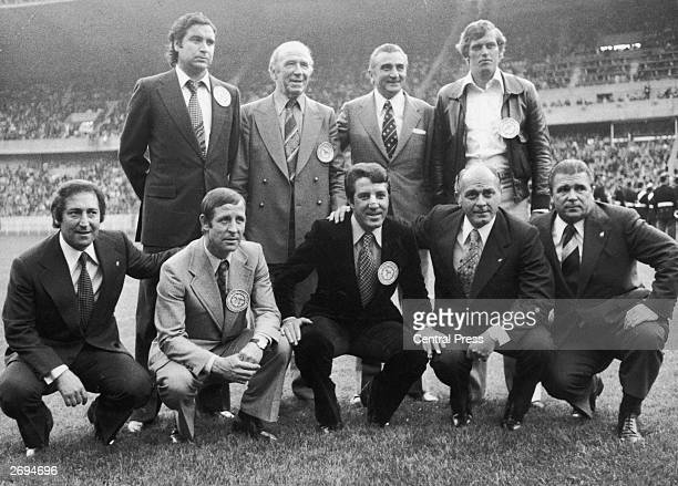 Famous figures from football history gathered on the pitch before the European Cup final between Leeds United and Bayern Munich Marquitez Matt Busby...