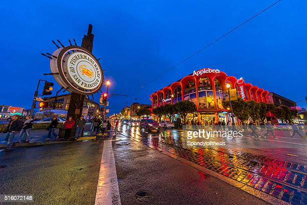 famous fisherman's wharf of san francisco after rain at night - fishermans wharf stock pictures, royalty-free photos & images