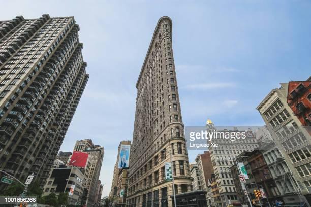 Famous Flatiron Building along Fifth Avenue and Broadway Street, Manhattan, New York