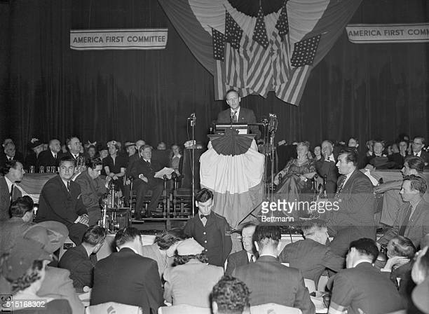 Famous flyer Colonel Charles A Lindbergh speaking before a huge America First rally in Manhattan Center tells his audience and the thousands gathered...