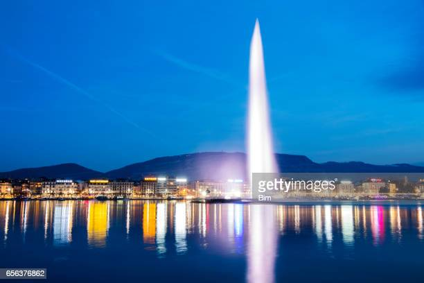 Famous Fountain Jet d´Eau at Dusk, Geneva, Switzerland